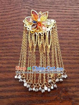 Traditional Handmade Chinese Classical Hair Accessories Ancient Princess Golden Hairpins Hair Comb Headwear for Women