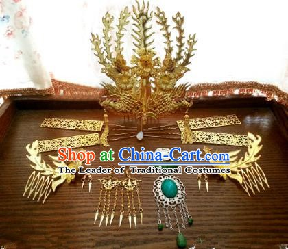 Traditional Handmade Chinese Classical Hair Accessories Phoenix Coronet Ancient Princess Golden Hairpins Complete Set for Women