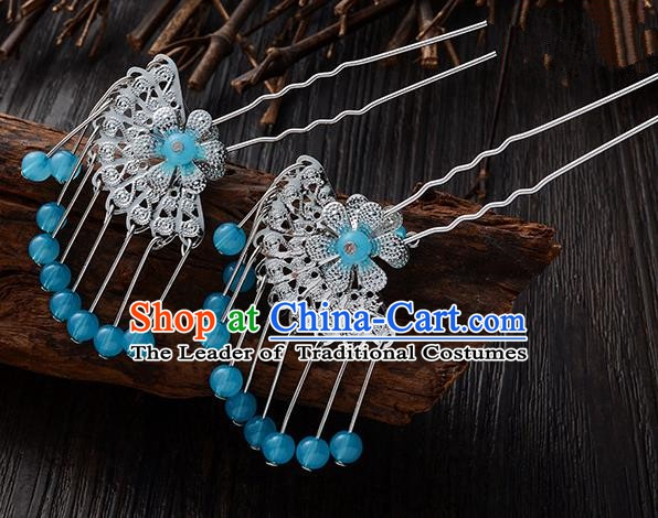 Handmade Asian Chinese Classical Hair Accessories Ancient Blue Beads Tassel Hairpins Headwear for Women