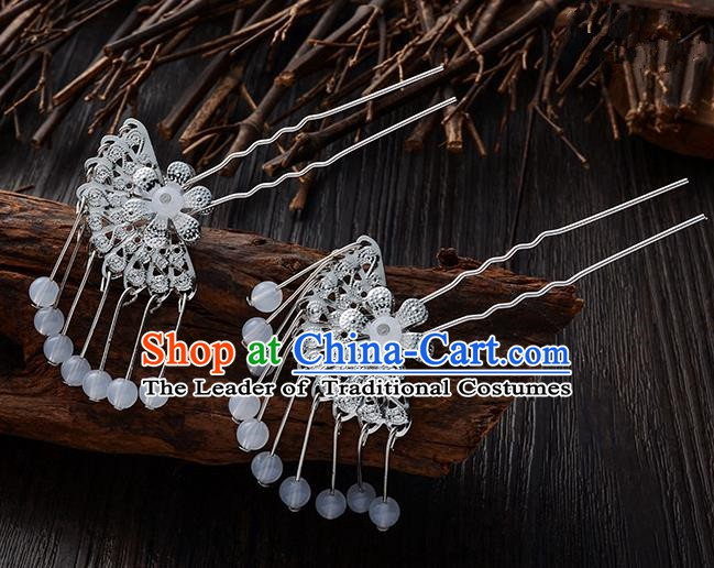 Handmade Asian Chinese Classical Hair Accessories Ancient White Beads Tassel Hairpins Headwear for Women