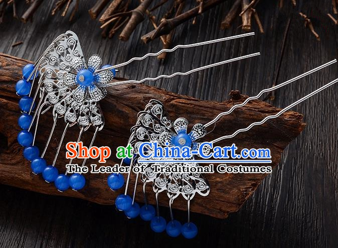 Handmade Asian Chinese Classical Hair Accessories Ancient Deep Blue Beads Tassel Hairpins Headwear for Women