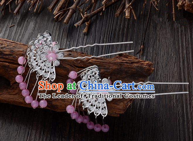 Handmade Asian Chinese Classical Hair Accessories Ancient Pink Beads Tassel Hairpins Headwear for Women
