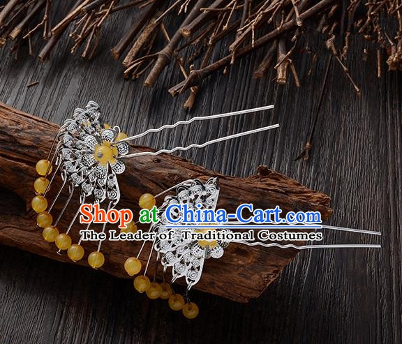 Handmade Asian Chinese Classical Hair Accessories Ancient Yellow Beads Tassel Hairpins Headwear for Women