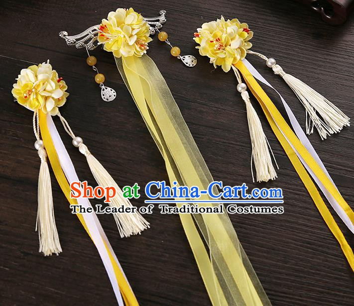 Handmade Asian Chinese Classical Hair Accessories Ancient Yellow Silk Flower Hairpins Headwear for Women
