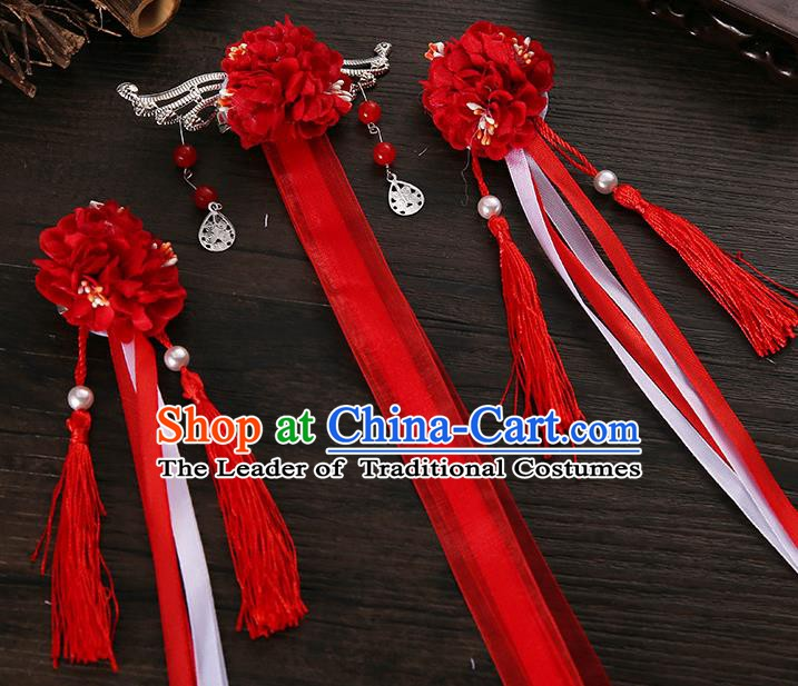 Handmade Asian Chinese Classical Hair Accessories Ancient Red Silk Flower Hairpins Headwear for Women