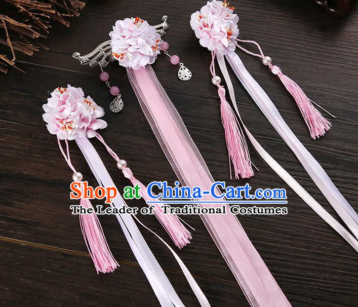 Handmade Asian Chinese Classical Hair Accessories Ancient Pink Silk Flower Hairpins Headwear for Women