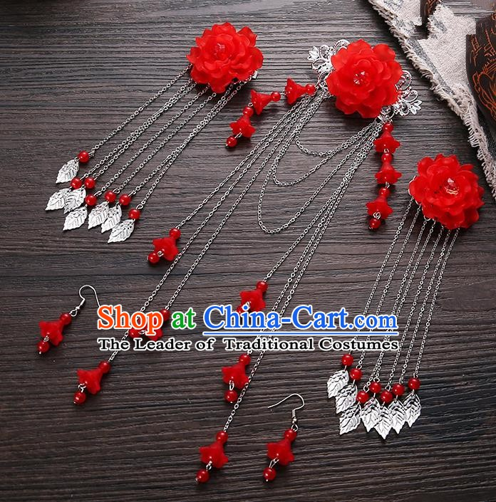 Handmade Asian Chinese Classical Hair Accessories Ancient Red Flower Hair Stick Hairpins for Women