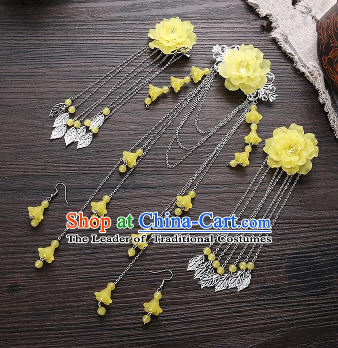Handmade Asian Chinese Classical Hair Accessories Ancient Yellow Flower Hair Stick Hairpins for Women