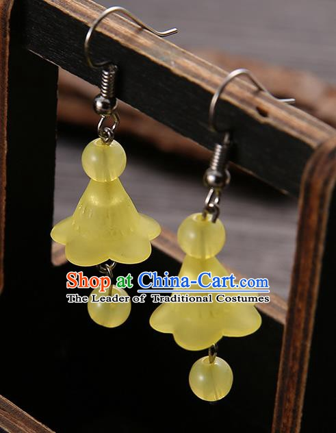 Asian Chinese Traditional Handmade Jewelry Accessories Hanfu Classical Yellow Earrings for Women