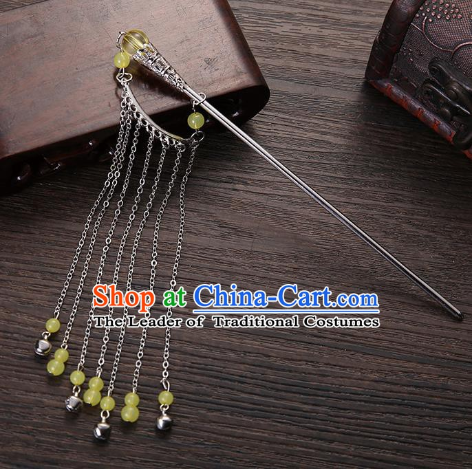 Handmade Asian Chinese Classical Hair Accessories Hair Clip Ancient Yellow Beads Tassel Hairpins for Women