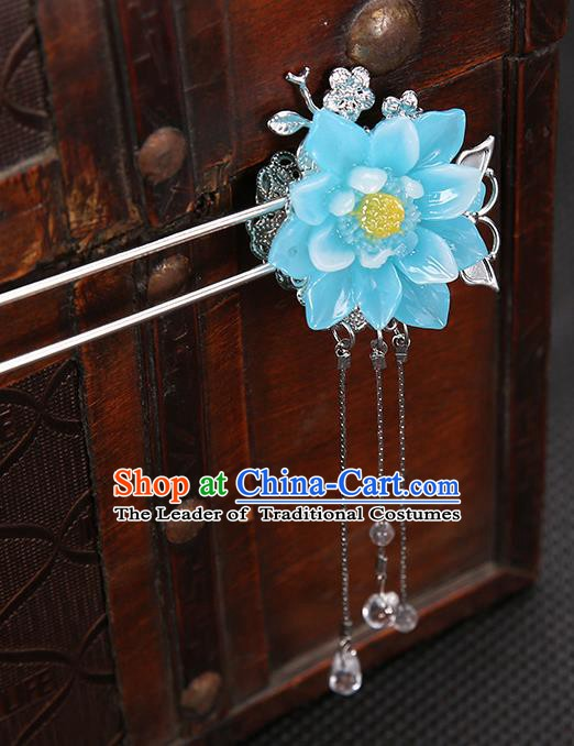 Handmade Asian Chinese Classical Hair Accessories Blue Flower Hair Clip Ancient Hanfu Hairpins for Women