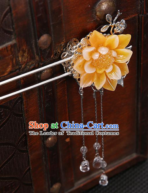 Handmade Asian Chinese Classical Hair Accessories Orange Flower Hair Clip Ancient Hanfu Hairpins for Women
