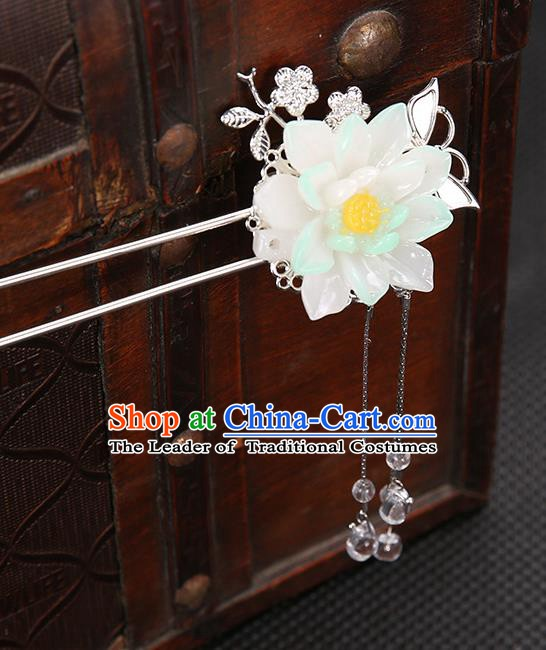 Handmade Asian Chinese Classical Hair Accessories White Flower Hair Clip Ancient Hanfu Hairpins for Women