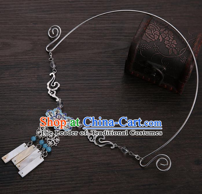 Traditional Chinese Handmade Classical Accessories Blueing Cloisonn Necklace for Women