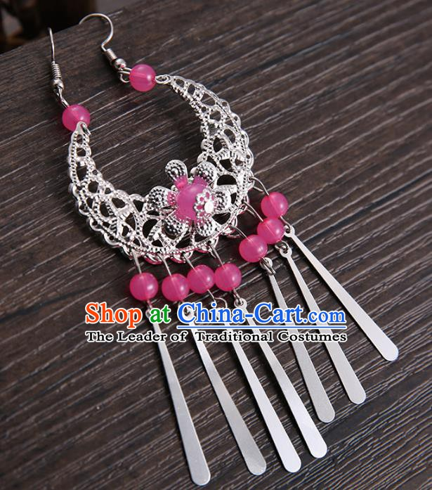 Handmade Asian Chinese Classical Hair Accessories Rosy Beads Tassel Hairpins Hanfu Frontlet Eyebrows Pendant for Women