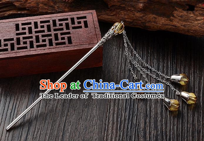 Handmade Asian Chinese Classical Hair Accessories Yellow Crystal Beads Tassel Hairpins Hanfu Step Shake for Women