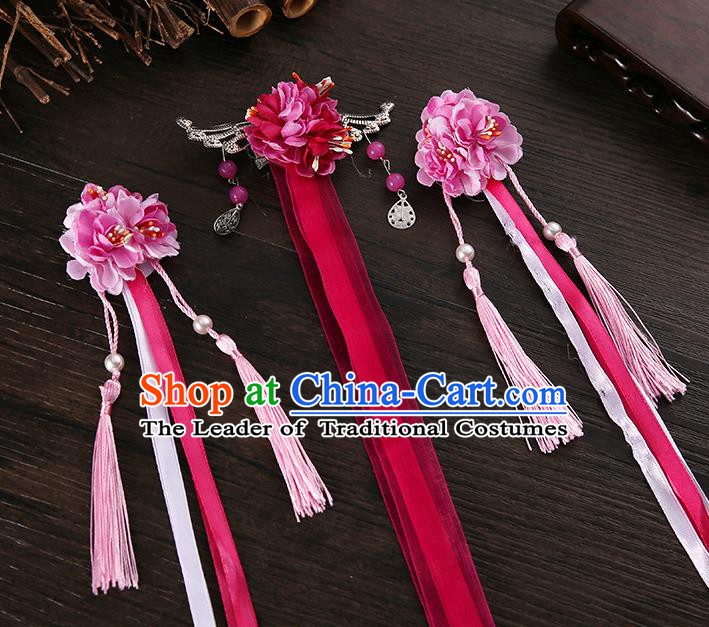 Handmade Asian Chinese Classical Hair Accessories Ancient Rosy Silk Flower Hairpins Headwear for Women