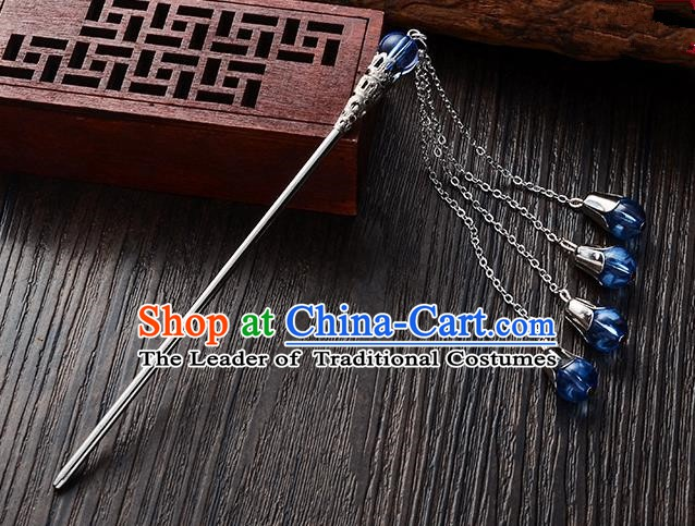 Handmade Asian Chinese Classical Hair Accessories Blue Crystal Beads Tassel Hairpins Hanfu Step Shake for Women
