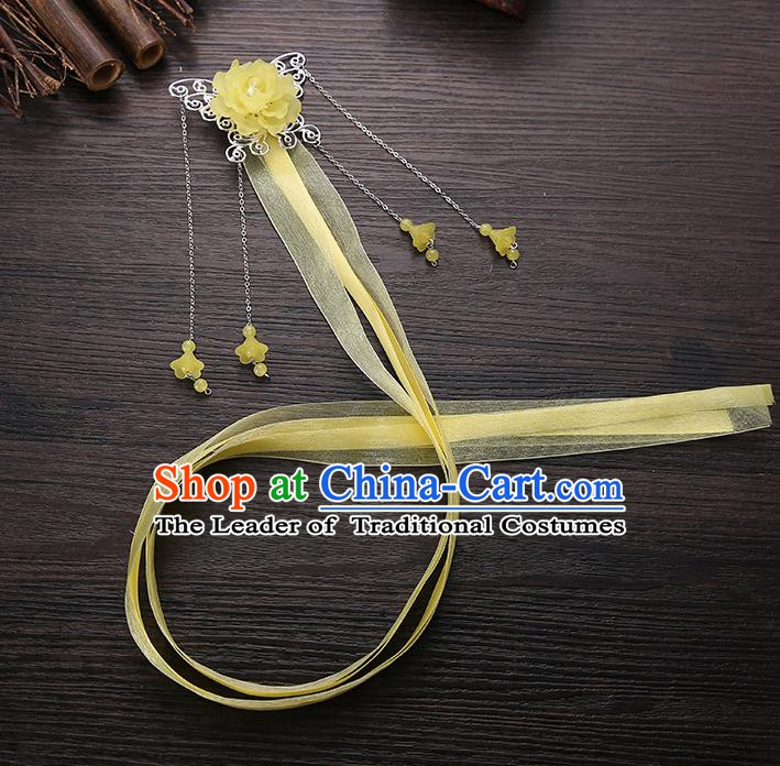 Handmade Asian Chinese Classical Hair Accessories Yellow Ribbon Butterfly Hairpins Hanfu Hair Stick for Women