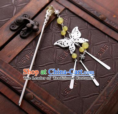 Asian Chinese Handmade Classical Hair Accessories Light Yellow Beads Butterfly Tassel Hair Clip Hanfu Hairpins for Women