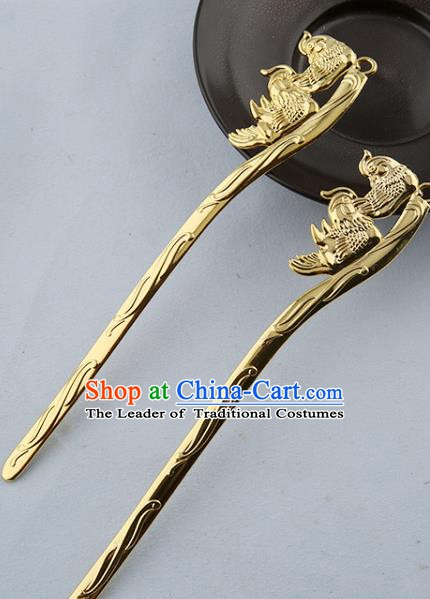 Asian Chinese Handmade Palace Lady Classical Hair Accessories Hanfu Mandarin Duck Hairpins Headwear for Women