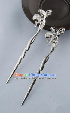 Asian Chinese Handmade Palace Lady Classical Hair Accessories Hanfu Carp Argent Hairpins Headwear for Women