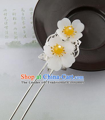 Asian Chinese Handmade Palace Lady Classical Hair Accessories Hanfu White Flowers Hairpins Headwear for Women