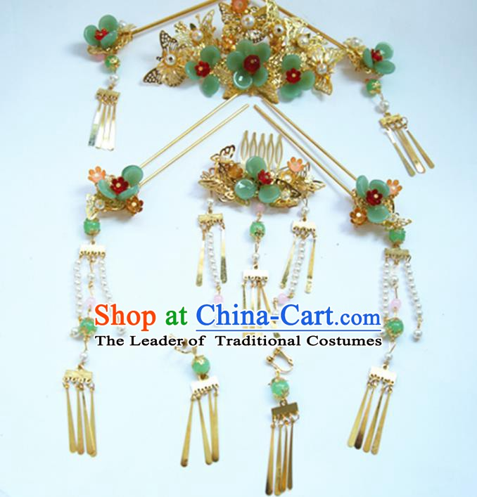 Asian Chinese Handmade Palace Lady Classical Hair Accessories Xiuhe Phoenix Coronet Hairpins Complete Set for Women