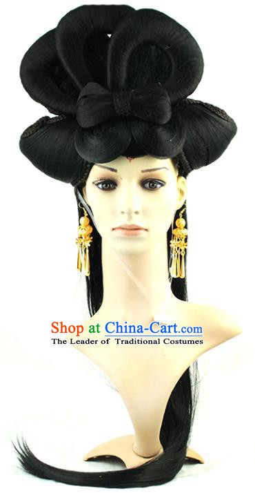 Asian Chinese Handmade Classical Hair Accessories Palace Lady Fairy Wig Sheath for Women