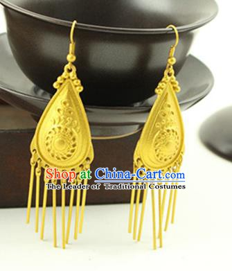 Asian Chinese Traditional Handmade Jewelry Accessories Hanfu Classical Golden Earrings for Women