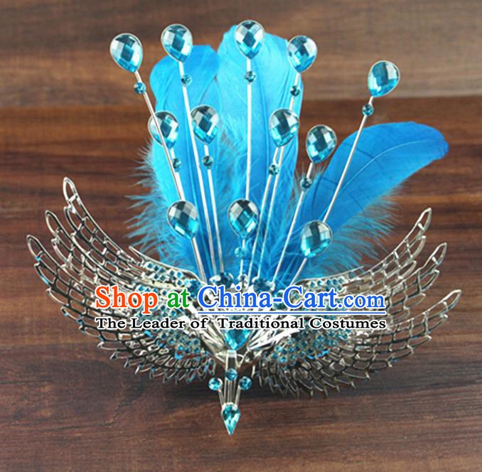 Asian Chinese Handmade Palace Lady Classical Hair Accessories Blue Phoenix Coronet Hairpins for Women
