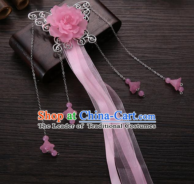 Handmade Asian Chinese Classical Hair Accessories Pink Ribbon Butterfly Hairpins Hanfu Hair Stick for Women