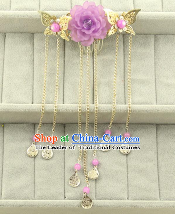 Asian Chinese Handmade Classical Hair Accessories Princess Purple Flowers Hairpins Butterfly Hair Comb for Women