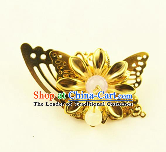 Asian Chinese Handmade Classical Hair Accessories Princess Hairpins Golden Butterfly Hair Stick for Women