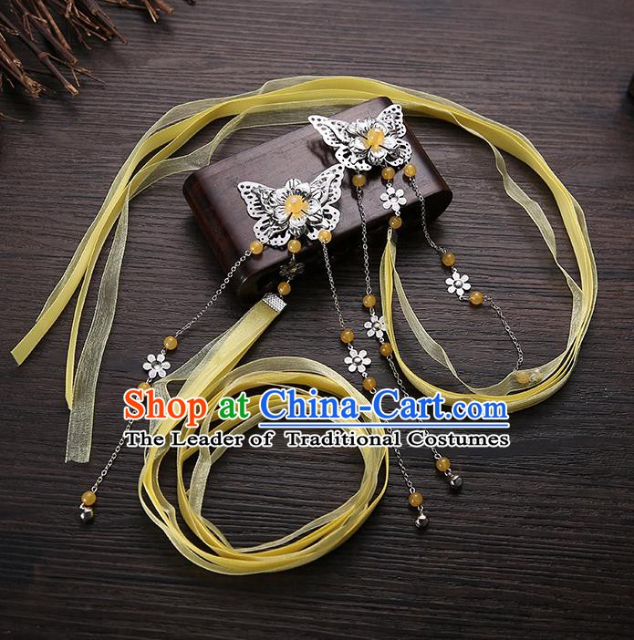 Handmade Asian Chinese Classical Hair Accessories Yellow Silk Ribbon Butterfly Hairpins Hanfu Hair Claw for Women