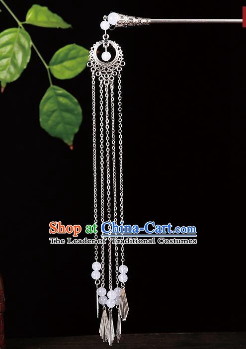 Handmade Asian Chinese Classical Hair Accessories White Beads Tassel Hairpins Hanfu Step Shake for Women