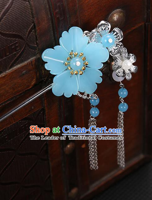 Handmade Asian Chinese Classical Hair Accessories Blue Flower Hairpins Hanfu Tassel Step Shake for Women
