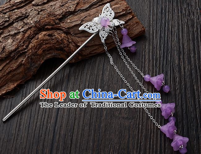 Handmade Asian Chinese Classical Hair Accessories Butterfly Hairpins Hanfu Purple Tassel Step Shake for Women