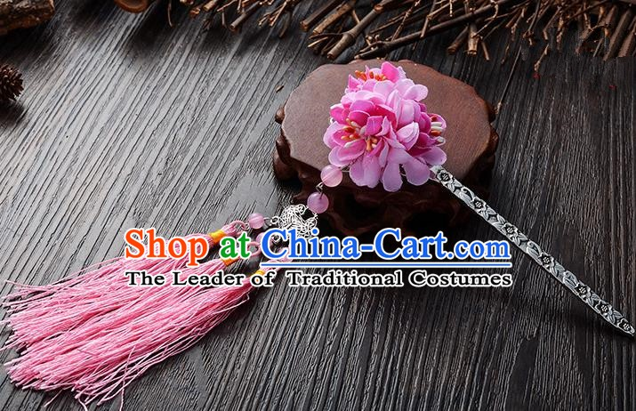 Handmade Asian Chinese Classical Hair Accessories Hairpins Hanfu Pink Flower Tassel Hair Stick for Women