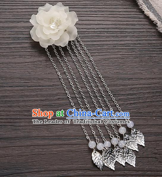 Asian Chinese Handmade Classical Hair Accessories White Flower Hairpins Hanfu Tassel Hair Claw for Women