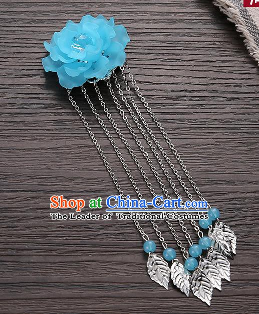 Asian Chinese Handmade Classical Hair Accessories Blue Flower Hairpins Hanfu Tassel Hair Claw for Women
