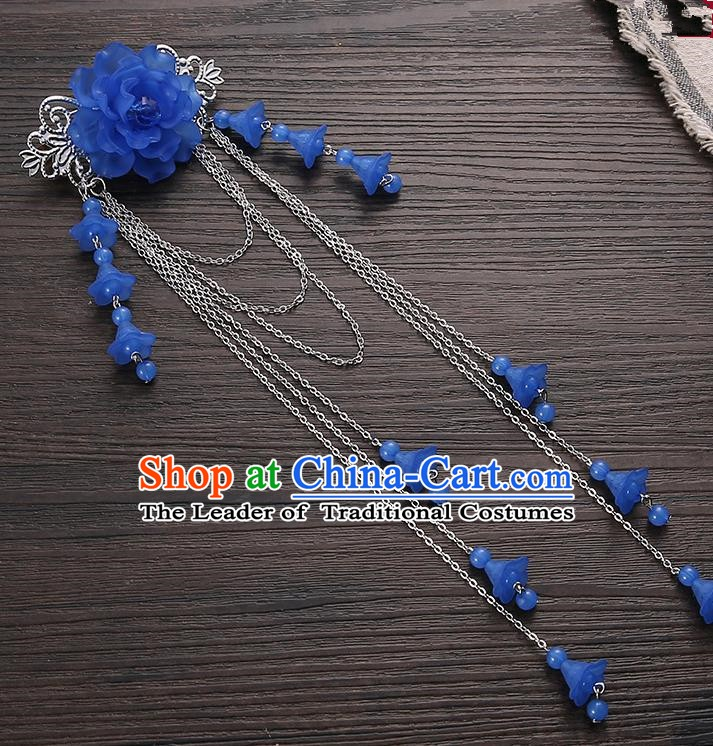 Asian Chinese Handmade Classical Hair Accessories Deep Blue Long Tassel Hair Claw Hanfu Hairpins for Women