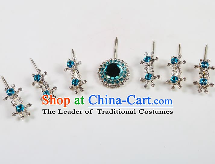 Chinese Beijing Opera Actress Hair Accessories Blue Crystal Hairpins, China Peking Opera Diva Headpiece