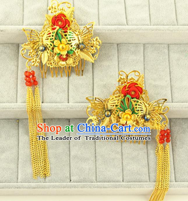 Asian Chinese Handmade Classical Hair Accessories Princess Hairpins Golden Hair Comb for Women