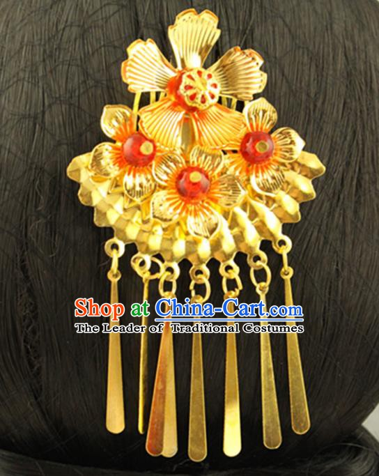 Asian Chinese Handmade Classical Hair Accessories Bride Frontlet Hair Combs Hanfu Hairpins for Women