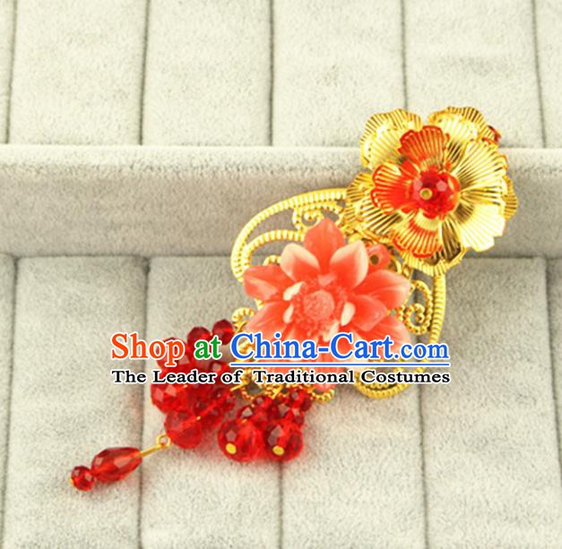 Asian Chinese Handmade Classical Hair Accessories Bride Frontlet Hanfu Hairpins for Women