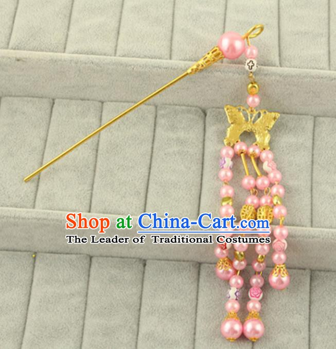Asian Chinese Handmade Classical Hair Accessories Bride Pink Step Shake Hanfu Hairpins for Women