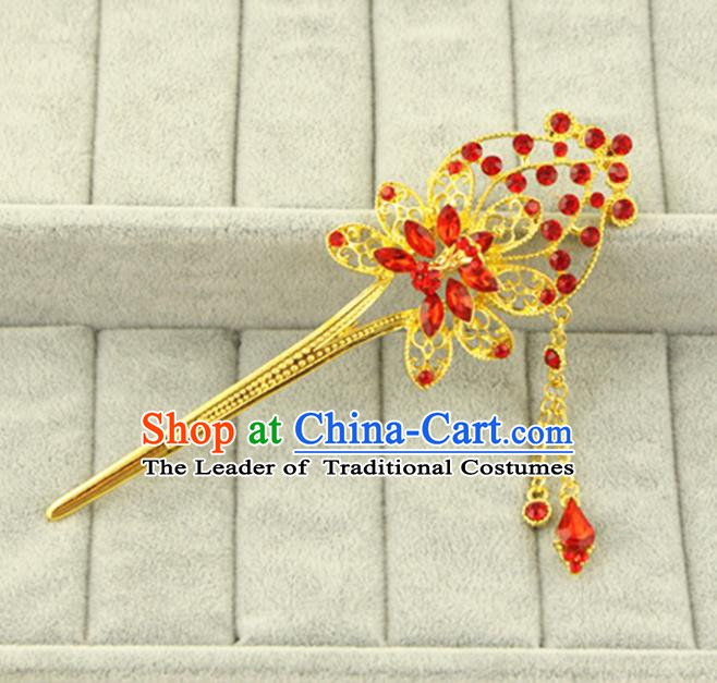 Asian Chinese Handmade Classical Hair Accessories Bride Red Crystal Hanfu Hairpins for Women