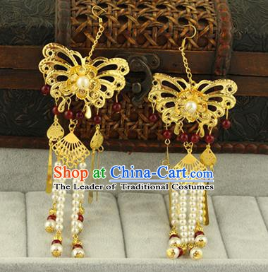 Asian Chinese Traditional Handmade Jewelry Accessories Hanfu Classical Butterfly Tassel Earrings for Women