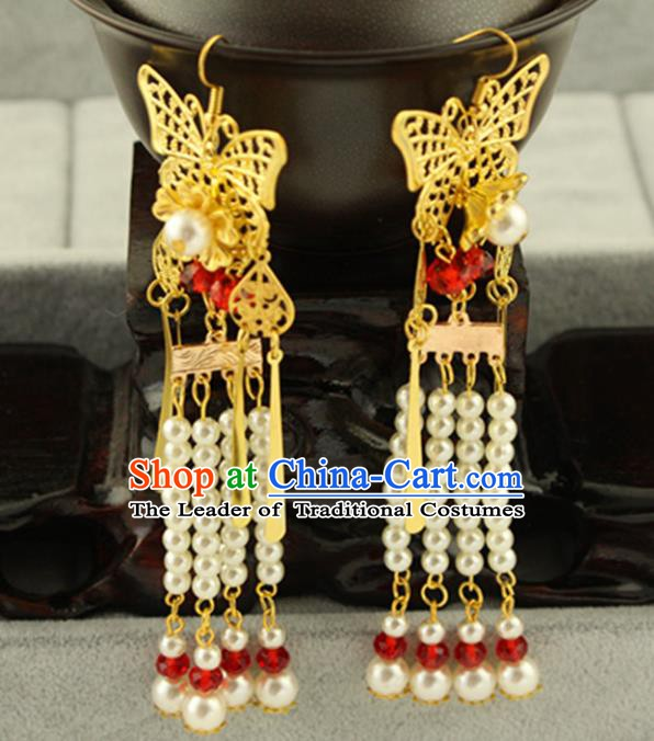 Asian Chinese Traditional Handmade Jewelry Accessories Hanfu Classical Butterfly Earrings for Women